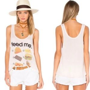 Wildfox Feed Me Tank Top Pale Pink Size Small